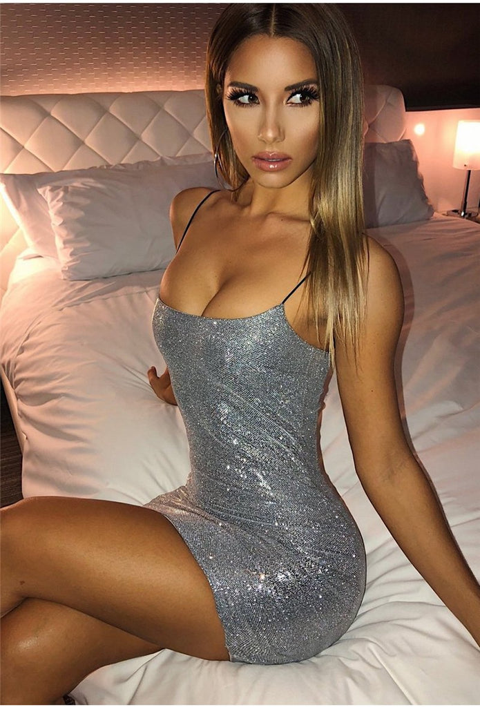 Sparkling Strappy Mini Dress - TheGlamLab
