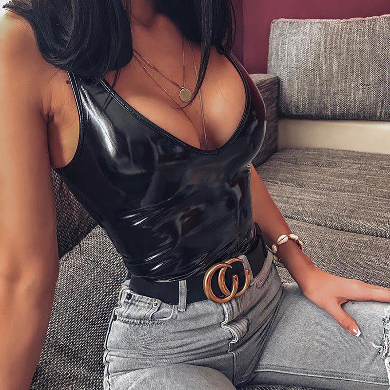 Sleeveless Patent Leather Bodysuit