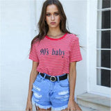 90s Striped Letter T-shirt