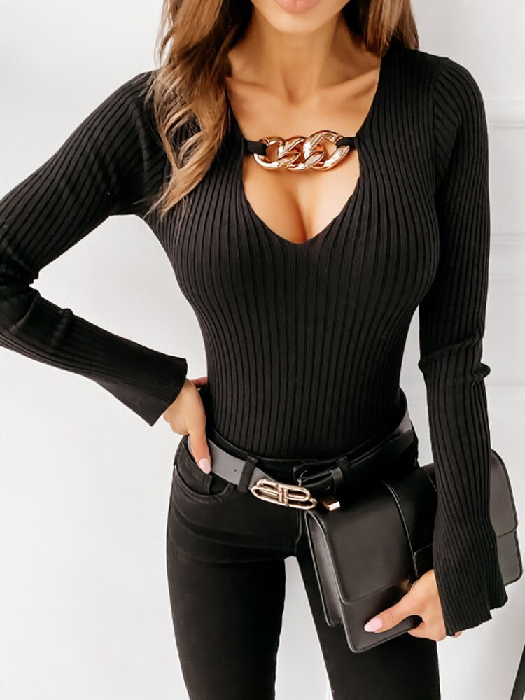Chunky Chain Ribbed Knit Top