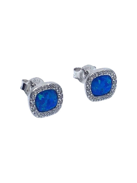 STERLING SILVER CREATED OPAL AND CUBIC ZIRCONIA STUDS