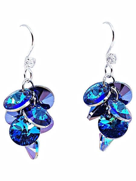 STERLING SILVER SWAROVSKI GRAPE EARRINGS