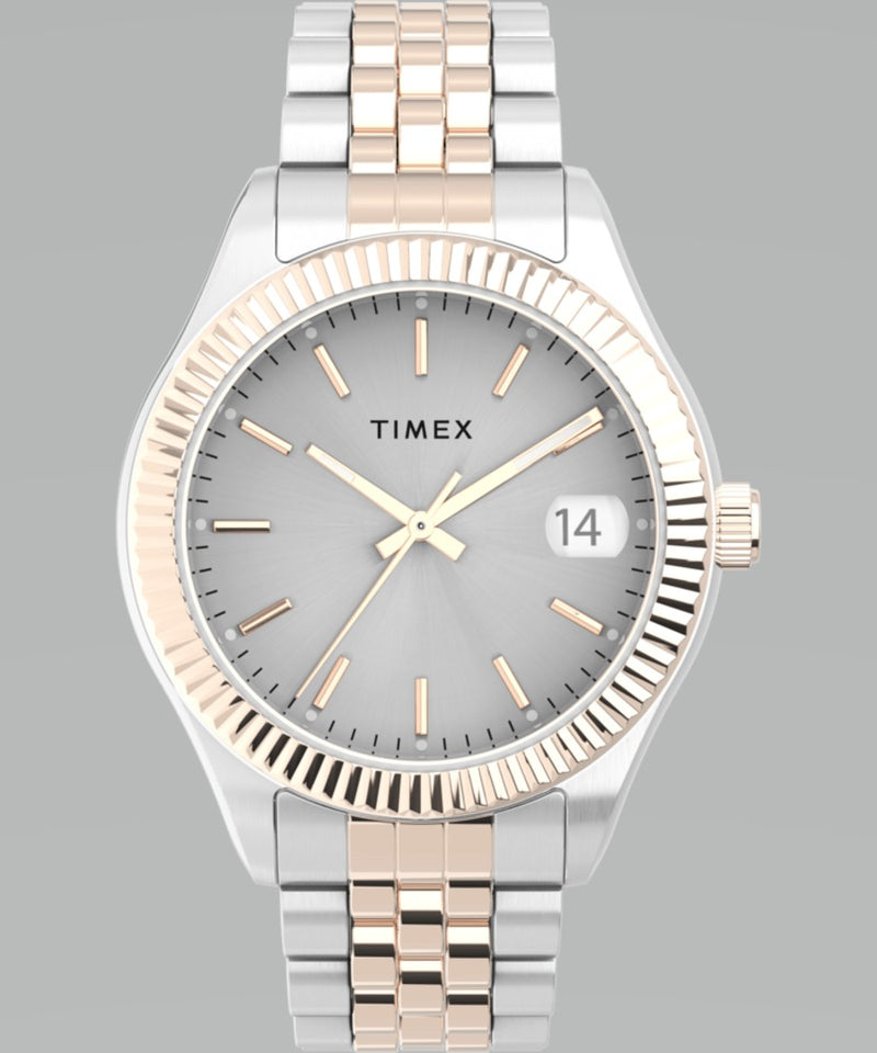 TIMEX- WATERBURY LEGACY 34MM STAINLESS STEEL BRACELET WATCH