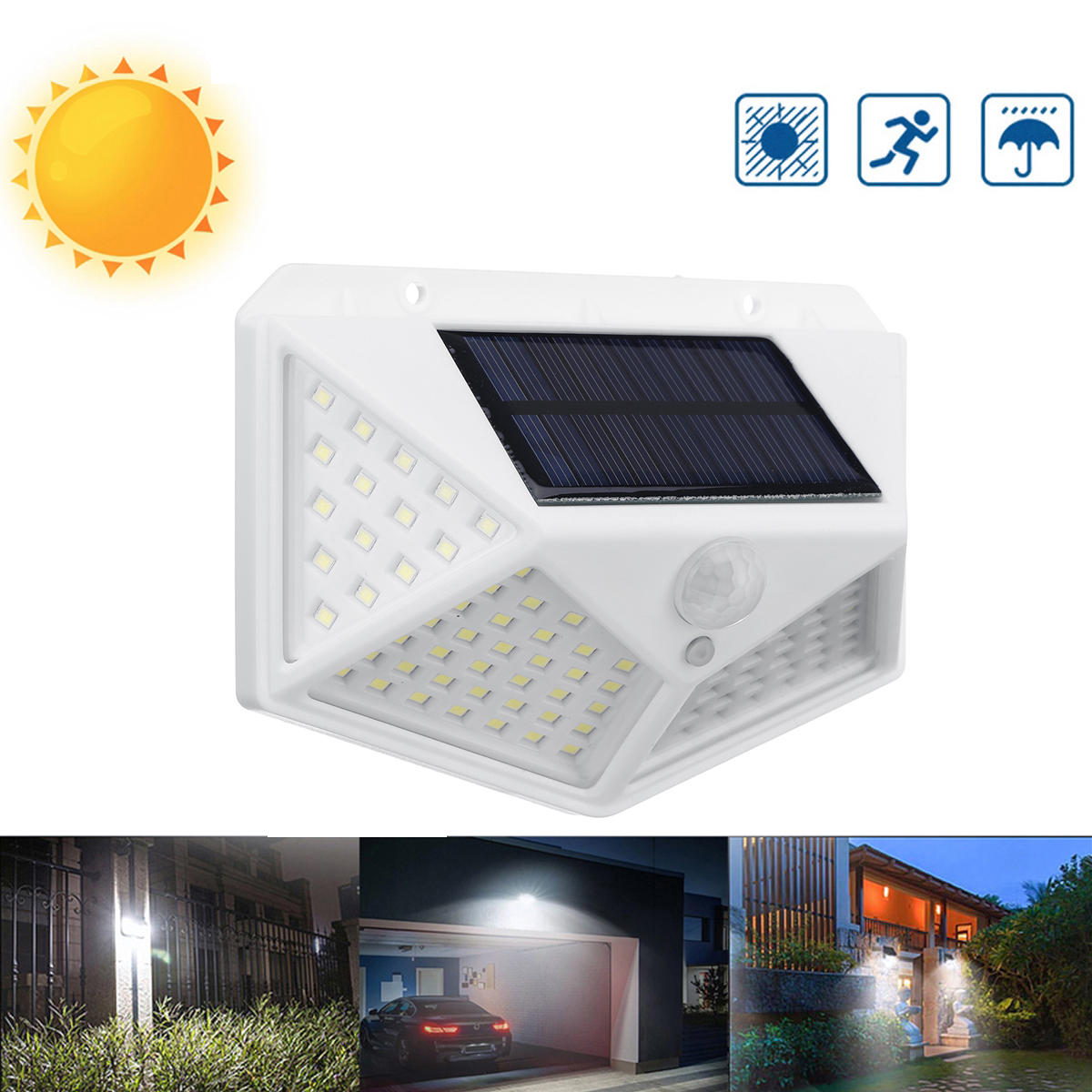Ntegrity Connect™ 100 LED Solar Motion Sensor Outdoor Garden Wall Light