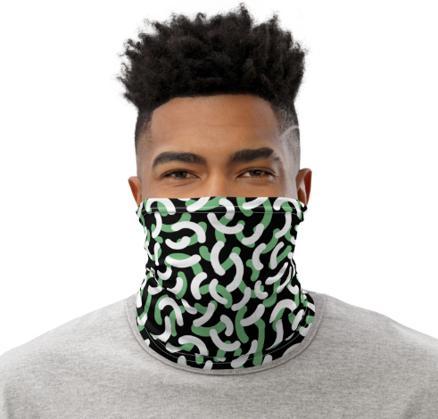 Neck Gaiter Face Covering Black and Green