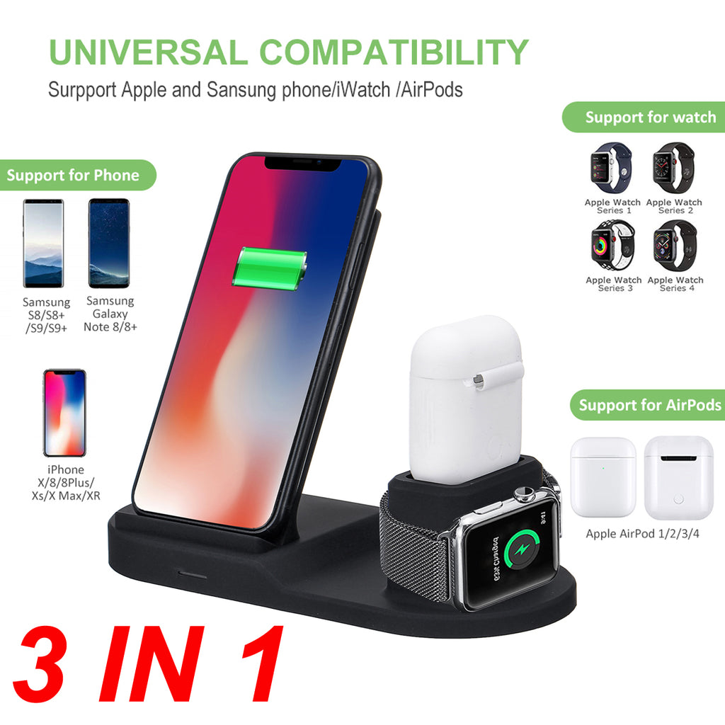 Ntegrity Connect Wireless Charger for Qi Enabled Devices 3 in 1 Charging Station
