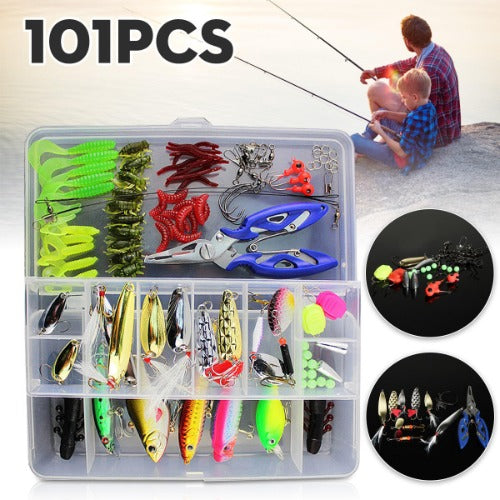 101Pcs Fishing Lure, Assorted Bait, and Tackle Box Set