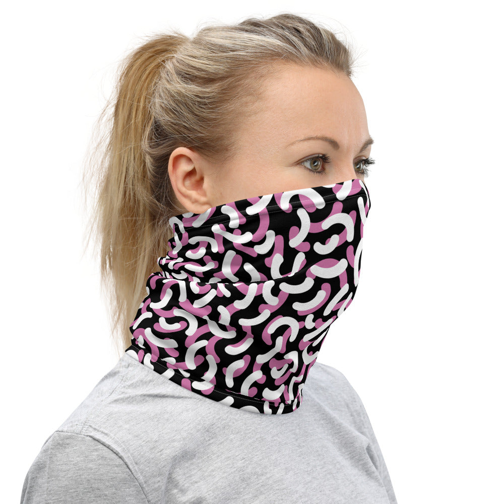 Neck Gaiter Face Covering Black and Lilac