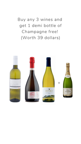 Buy any 3 wines and get 1 demi bottle of Champagne worth $39
