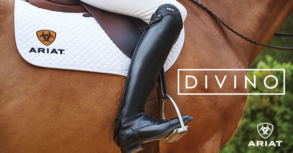 Woman wearing Ariat tall boots on horse