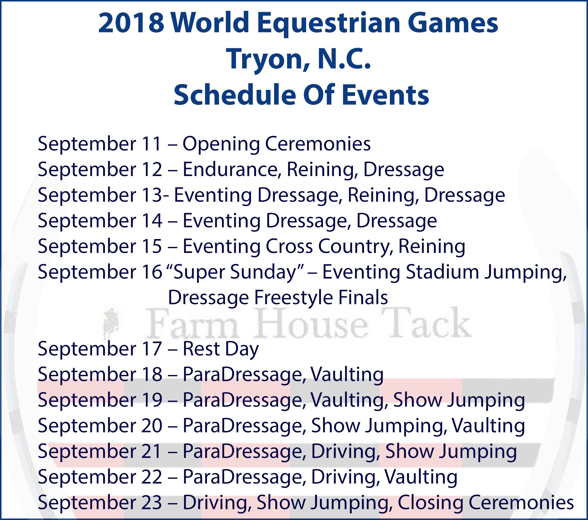 Official Schedule For 2018 World Equestrian Games - Tryon N.C.