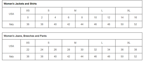 Amino Size Chart for Breeches, Jackets, and Shirts