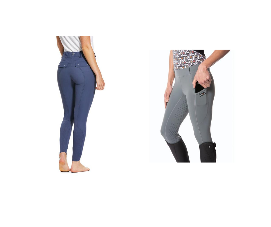 Ariat Tri Factor Breeches in nightshade and Kerrits Ice Fil Tech Tights in Flint