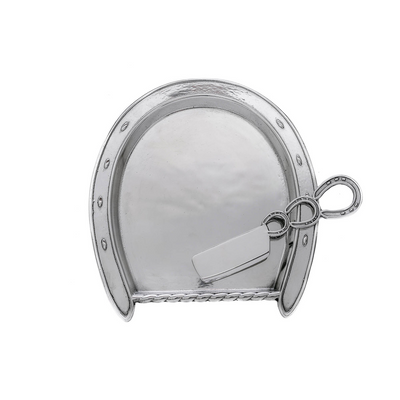 Arthur Court Equestrian Plate with Server - Horseshoe