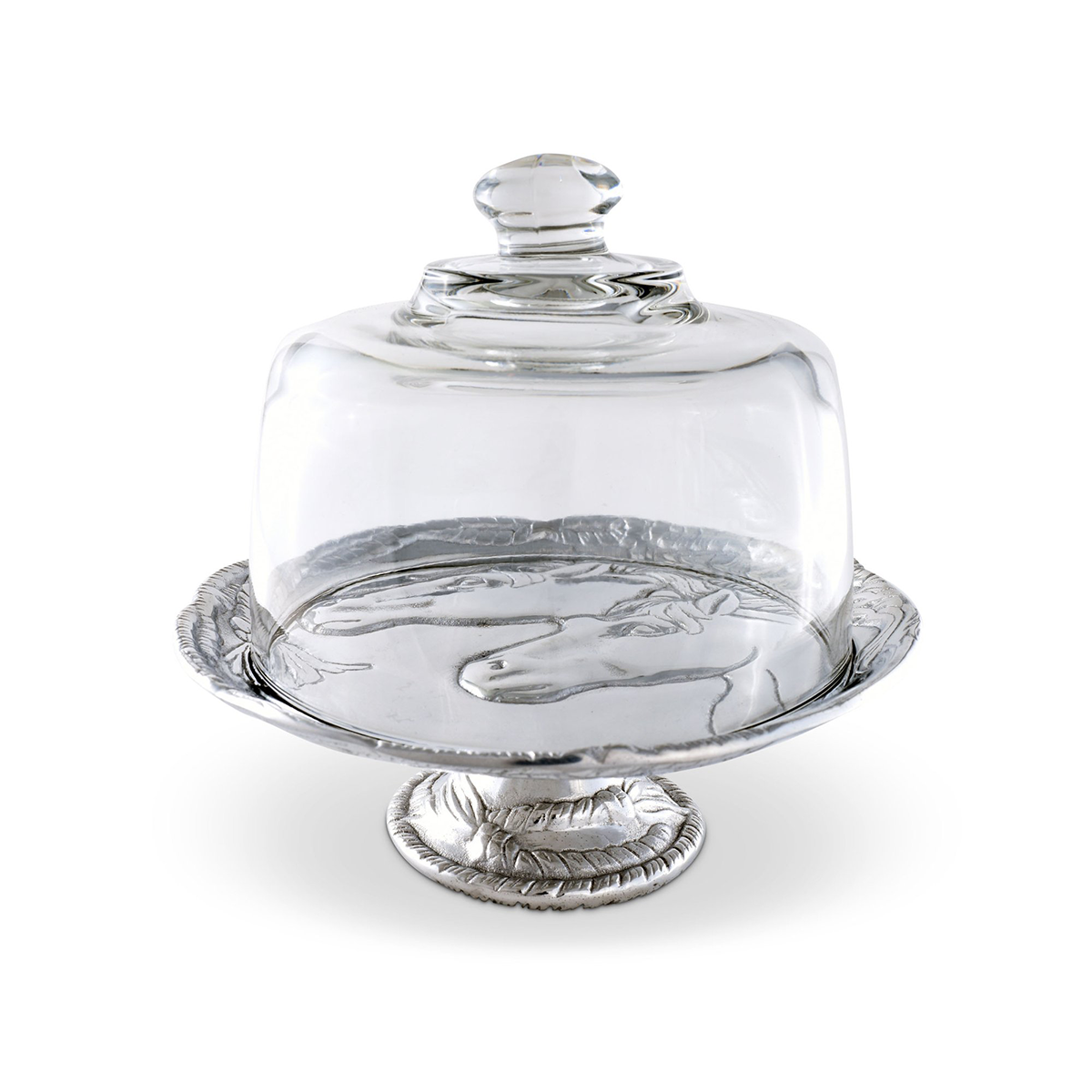 Arthur Court Equestrian Footed Plate With Glass Dome - 8""