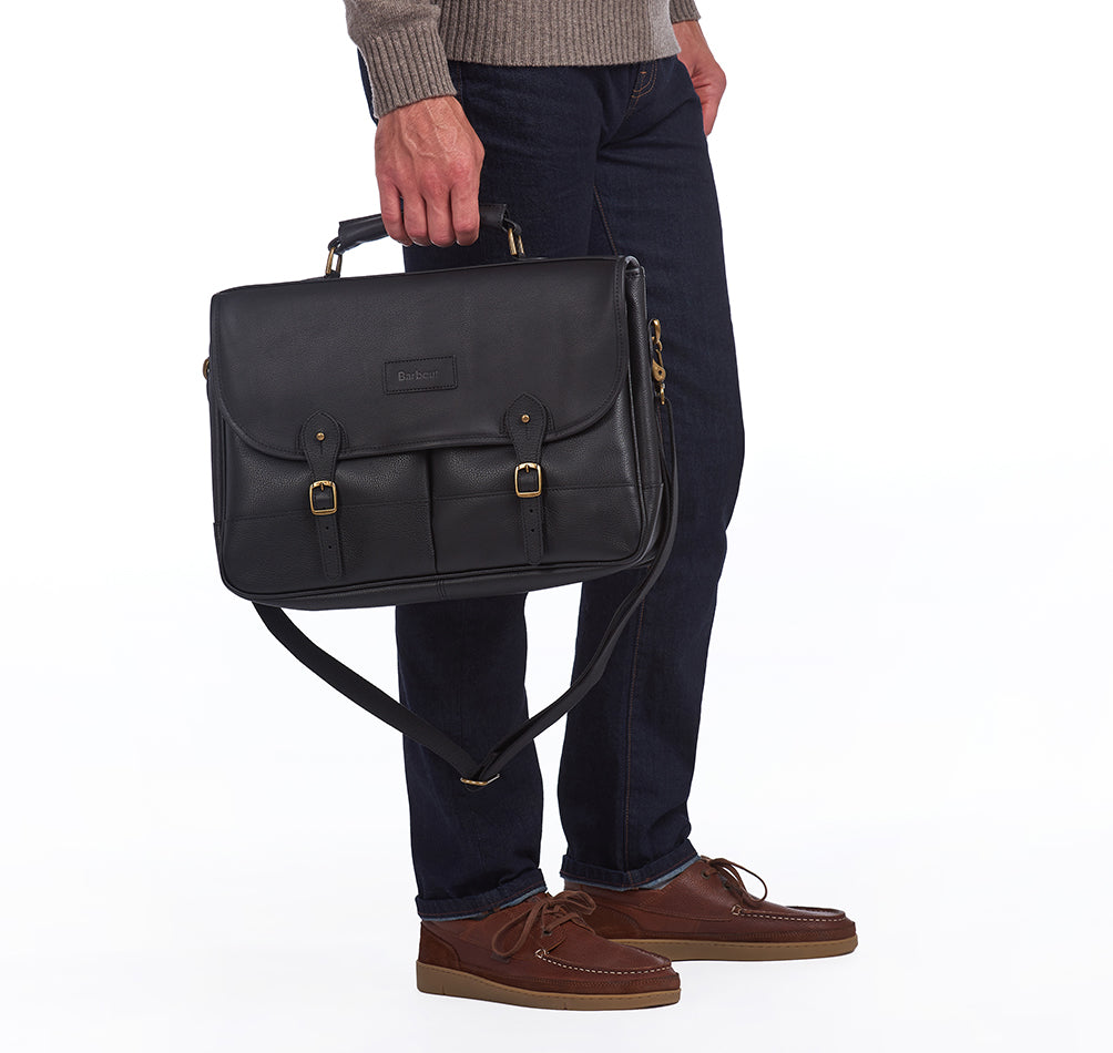 Barbour Signature Wax Leather Briefcase