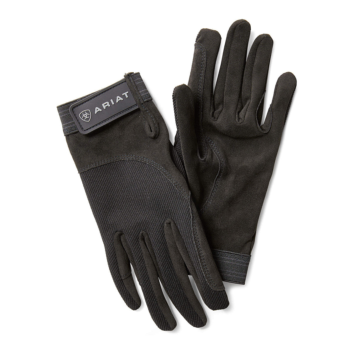 Ariat Tek Grip Gloves Image.  Black gloves with White logo, on velcro closure.