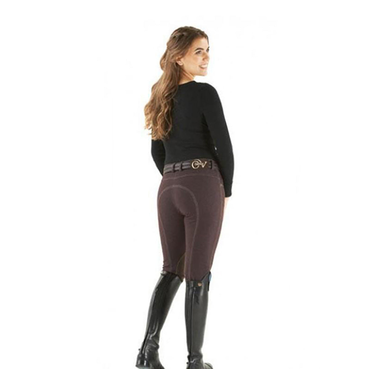 Ovation Ladies SoftFLEX Zip Front Classic Knee Patch Breeches