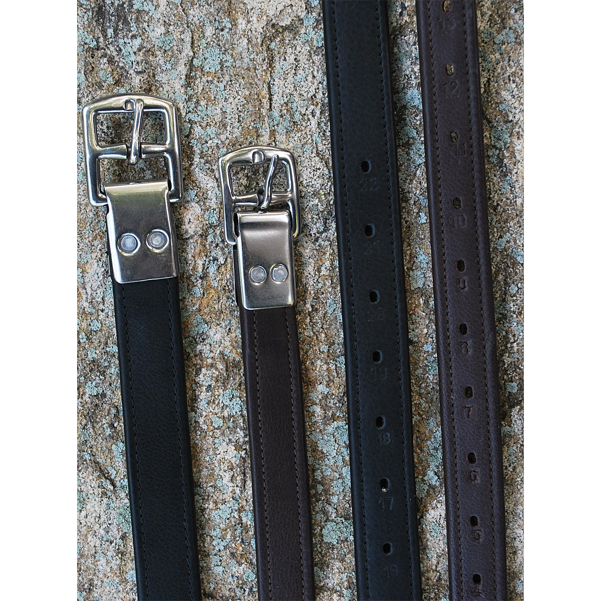 Black Oak by KL Select Riveted Half Hole Stirrup Leathers