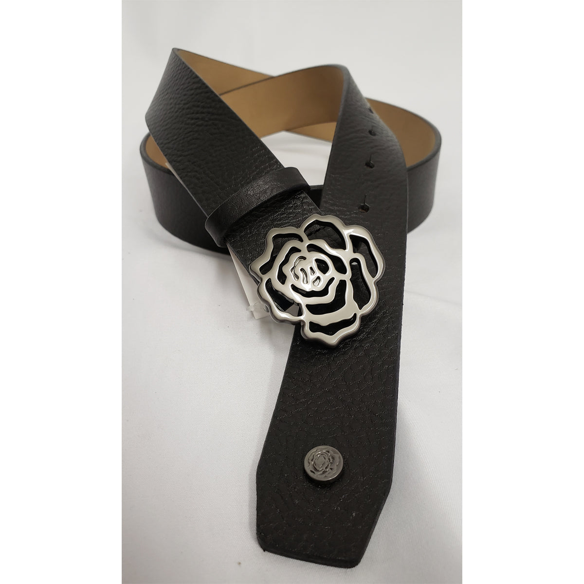 Hannah Childs Pebbled Leather Sig Rose Belt