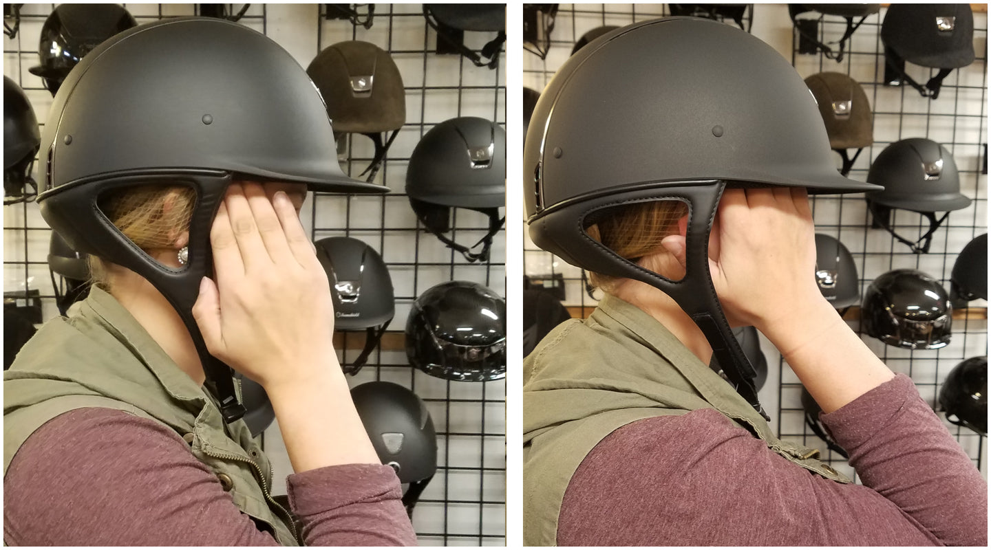 checking the fit of a riding helmet