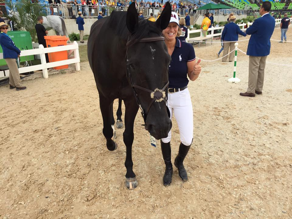 Beezie Madden at the 2016 Rio Olympics with horse, Cortes C