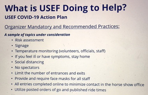 Horse show COVID-19 action plan