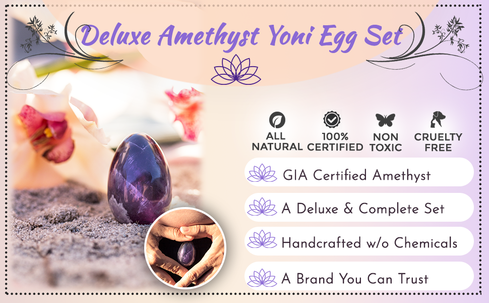 ExSoullent Amethyst Yoni Eggs Product banner showing its main features