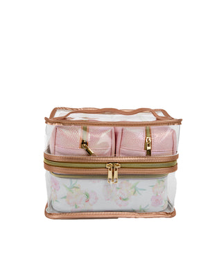 4 PC Travel Case - Floral Poms