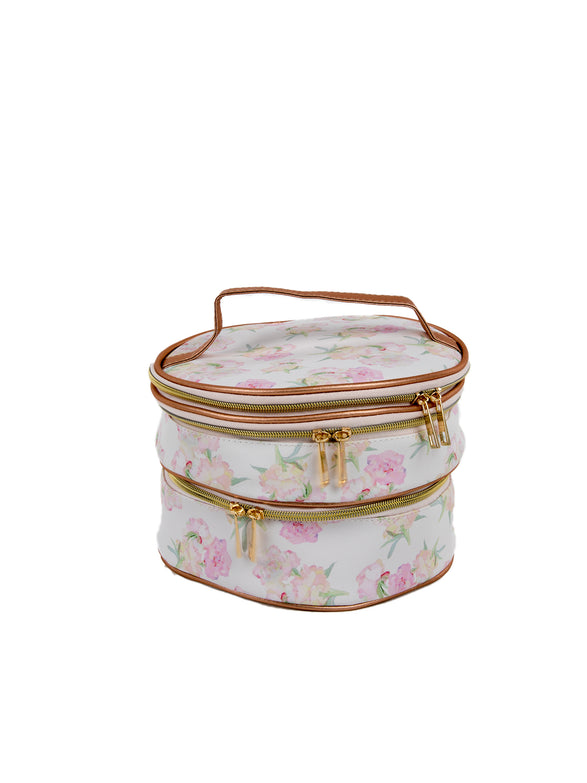 Floral Poms Oval Double Zipper Travel Case - Under1Sky