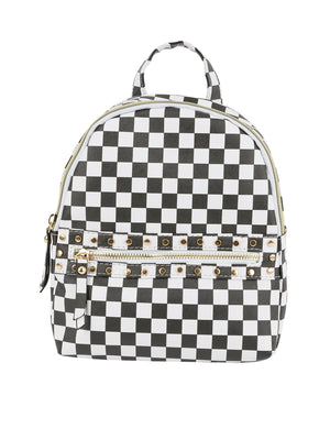 Checker Printed Backpack - Under1Sky