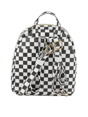 Checker Printed Backpack