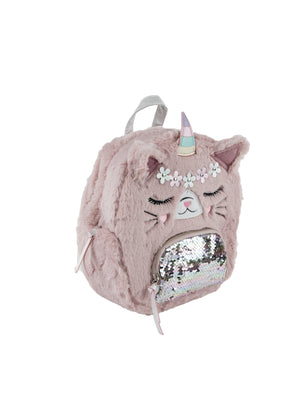 """Fluffy Plush Cat"" Backpack"
