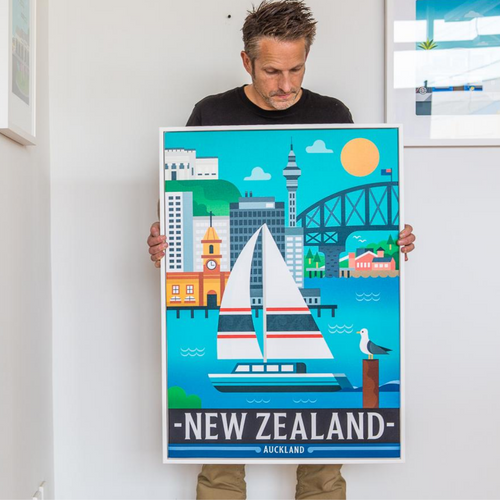 Auckland - A1 Framed Canvas