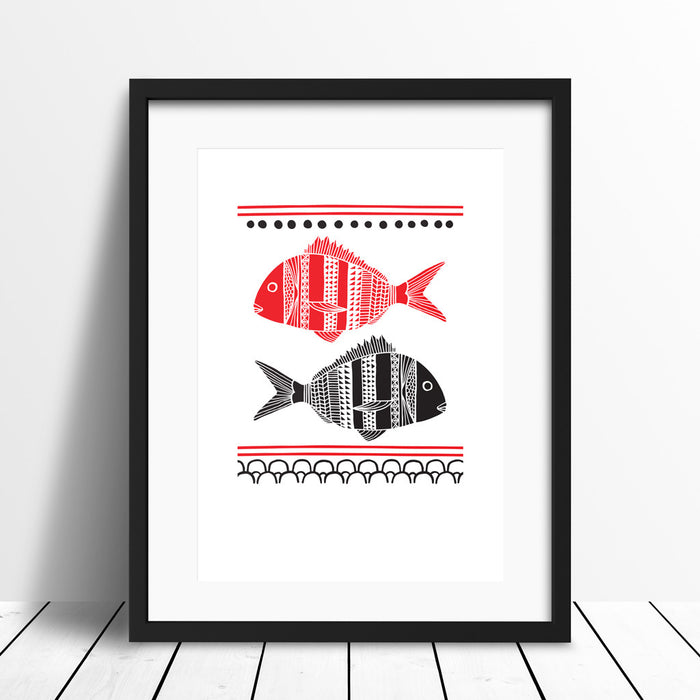 'Two Snapper' Screen Print (Red)