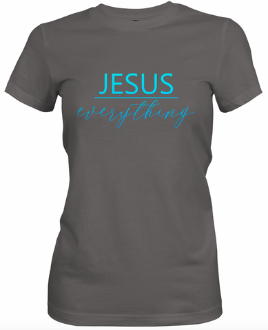 Jesus Over Everything -Charcoal & Blue T-Shirt
