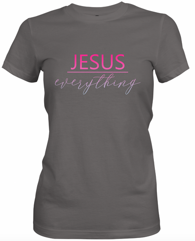 Jesus Over Everything -Charcoal & Pink T-Shirt