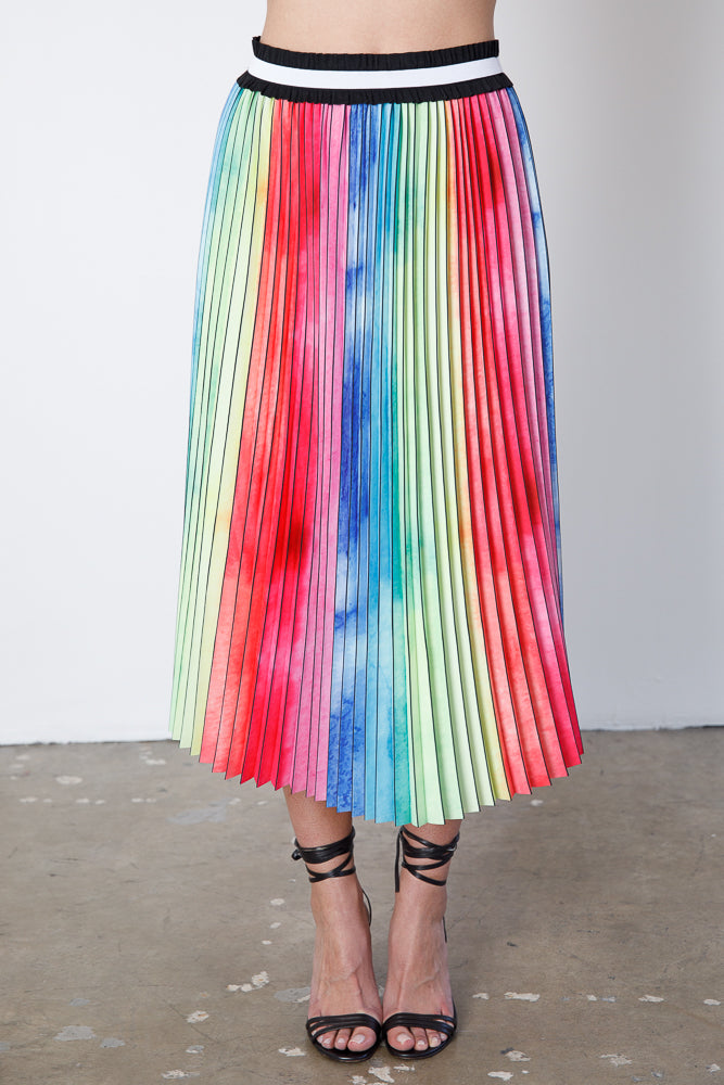 Watercolor Rainbow Pleated Skirt