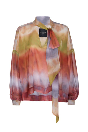 Tie Front Blouse Sunset Chiffon