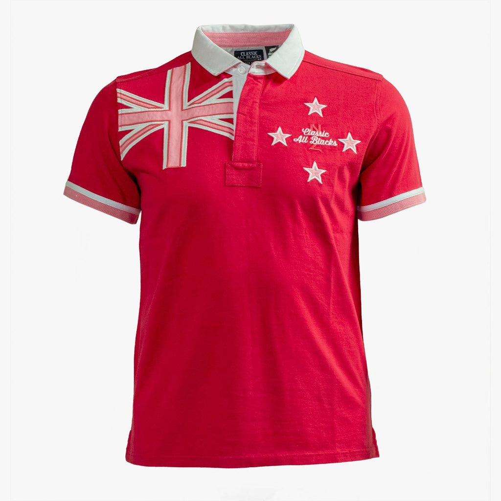 Polo Drapeau Nouvelle Zélande - Rose - Classic All Blacks