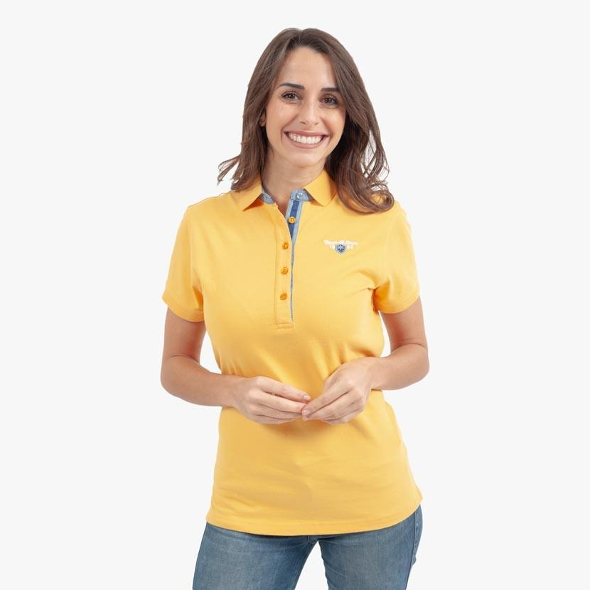 Polo Femme en Jersey - Broderie Dos - Jaune - Classic All Blacks