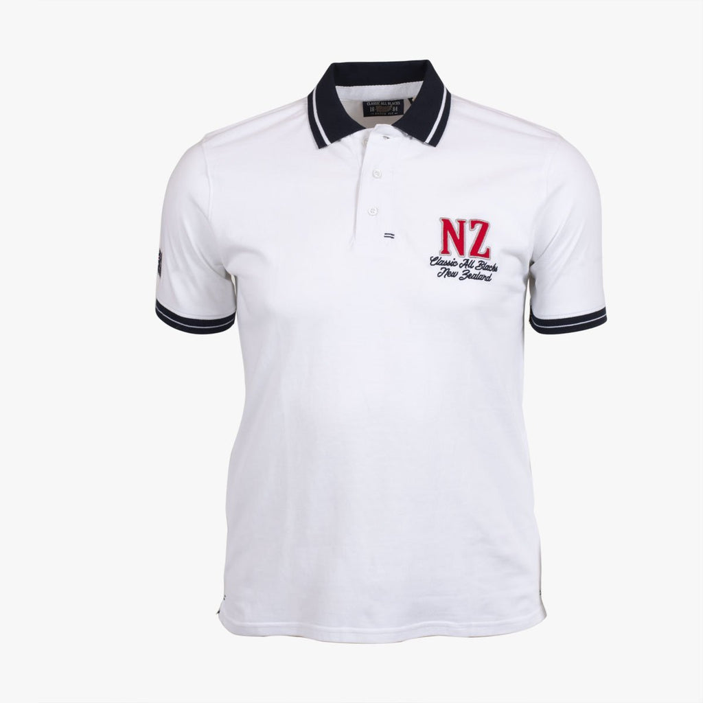 Polo Manches Courtes New Zeland - Blanc - Classic All Blacks