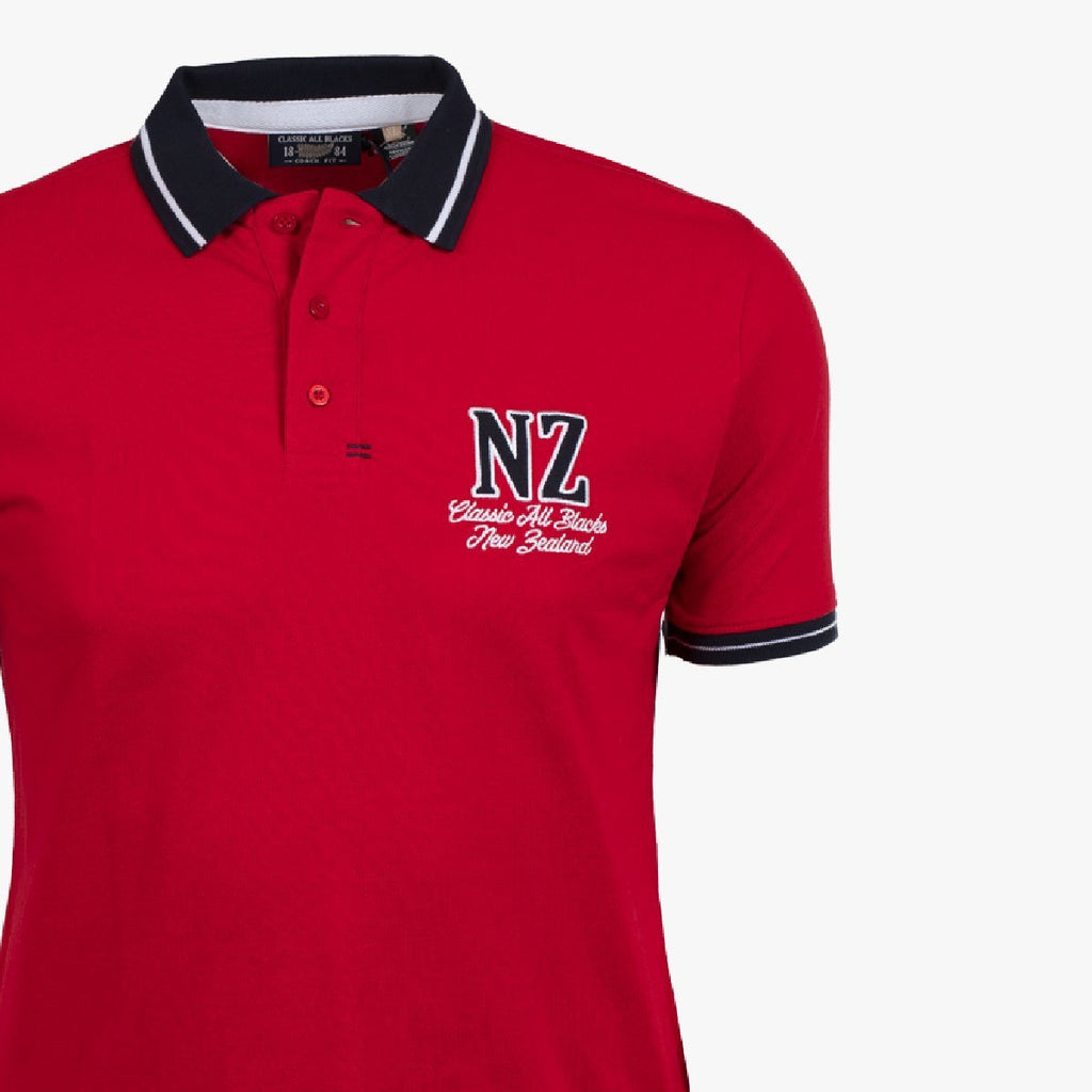 Polo Manches Courtes New Zeland - Rouge - Classic All Blacks
