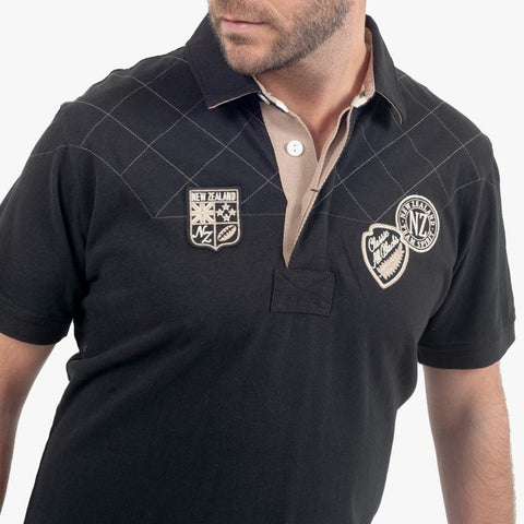 Polo Rugby en Jersey - Noir - Classic All Blacks