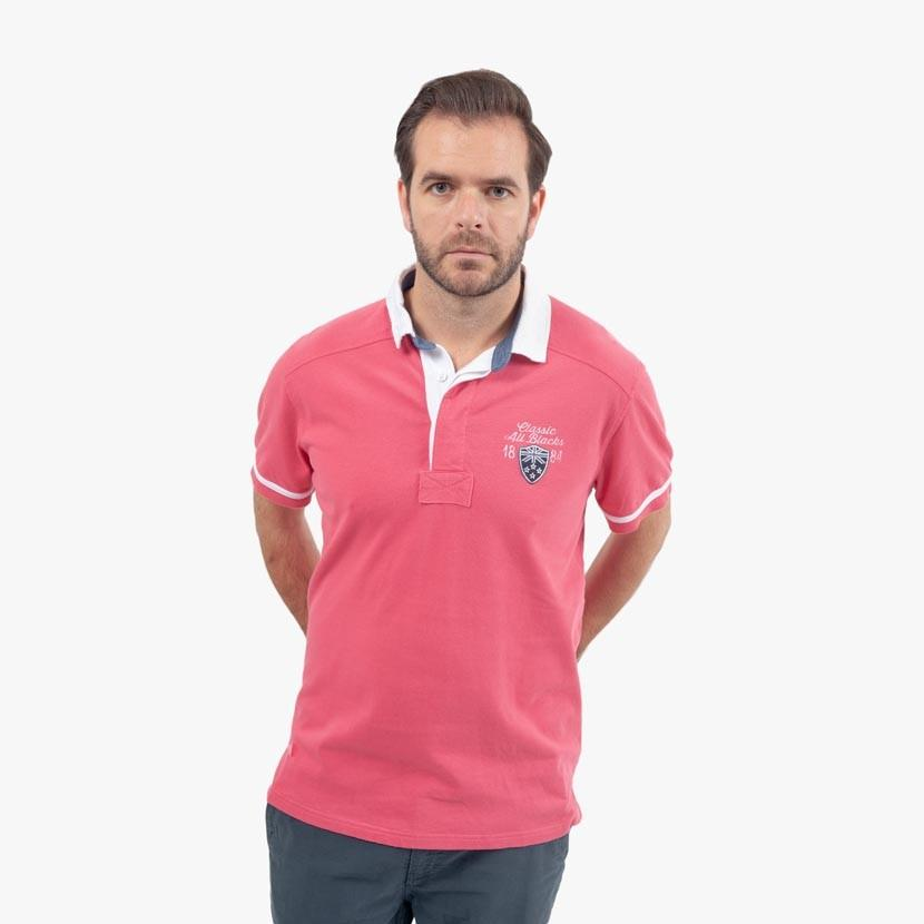 Polo Rugby en Jersey - Numéro 10 - Rose - Classic All Blacks