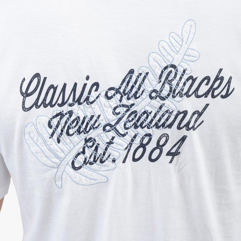 T-Shirt Col V en Jersey - Impression Devant Derrière - Blanc - Classic All Blacks