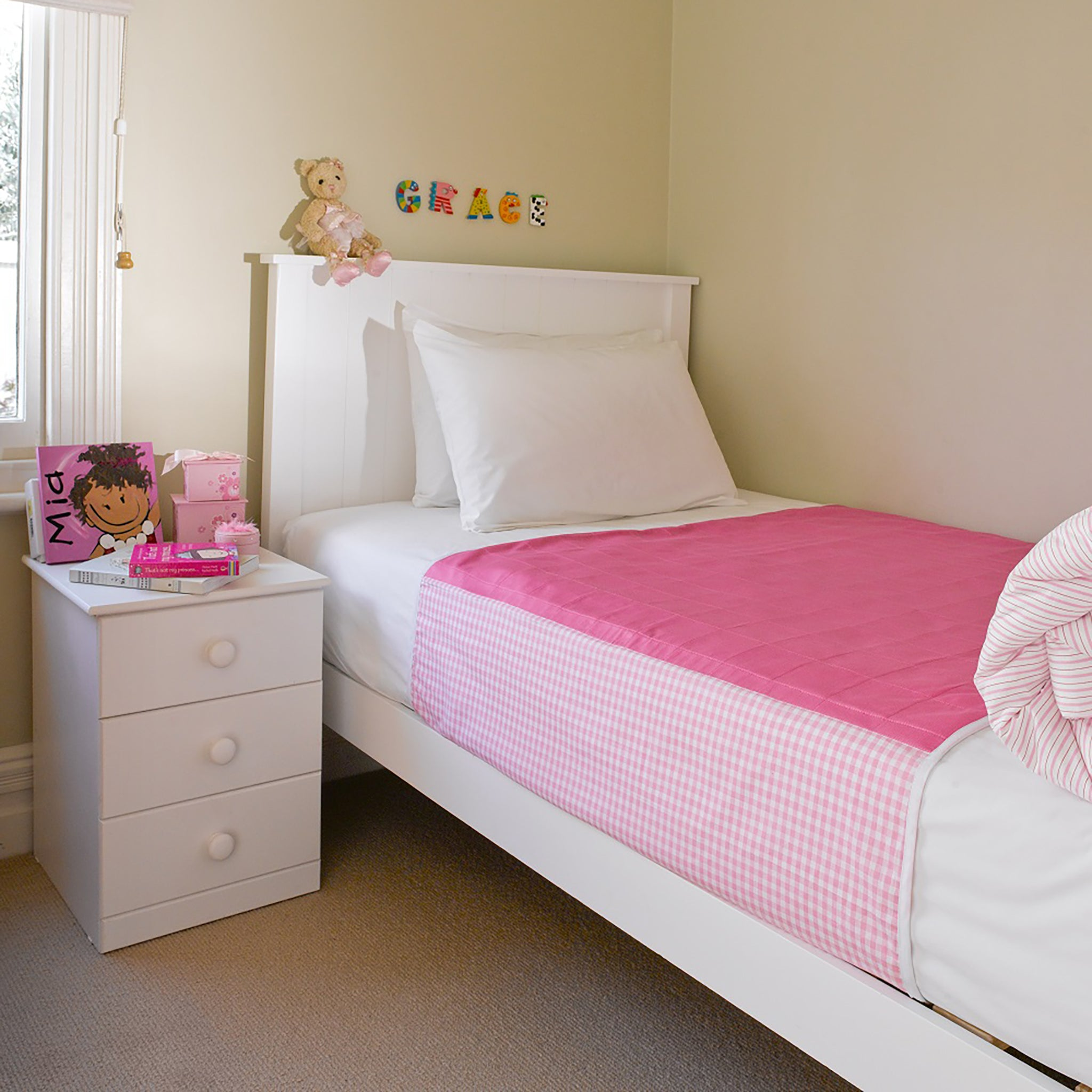 Brolly Sheet Bed Pad With Wings   Single   Pink
