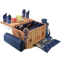KHAP Supplier - Picnic - Blue Leather Picnic Basket - For 4 People - 'Saint-Honoré'