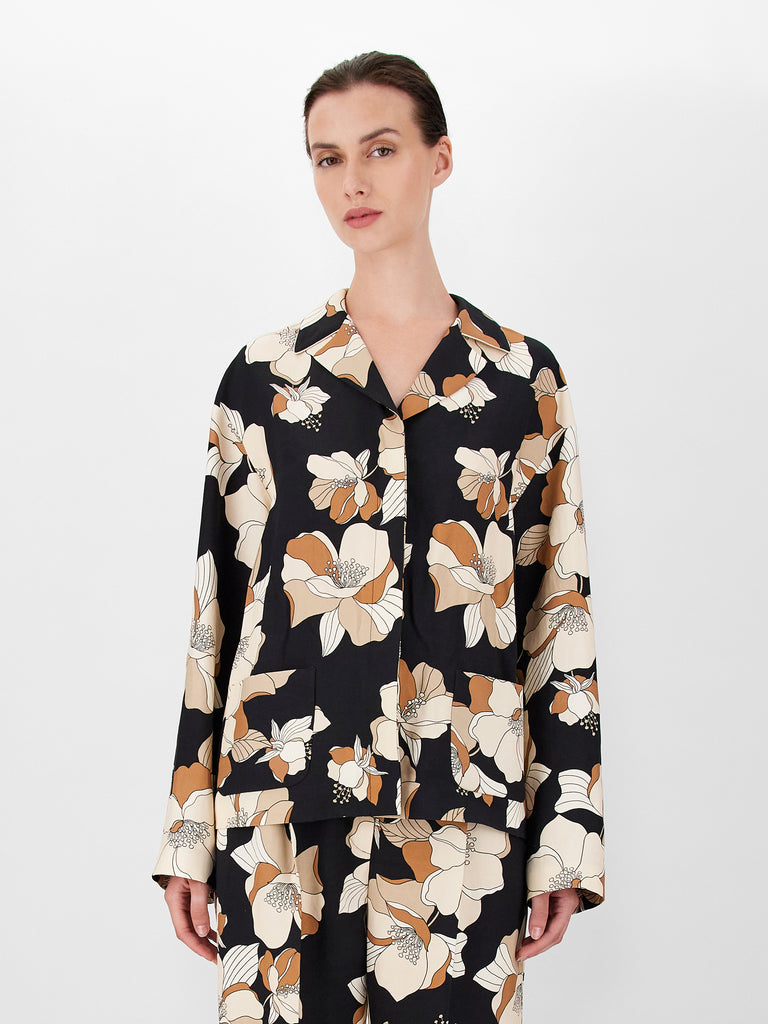 Blusa in viscosa e lino