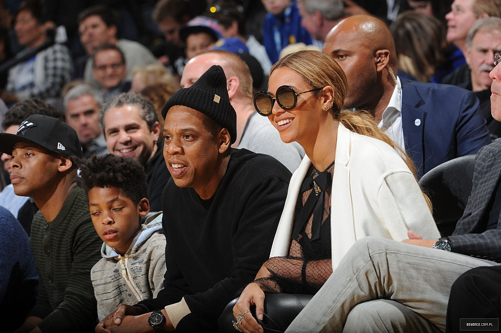 Beyonce court side wearing oversized round sunglasses by Sunday Somewhere